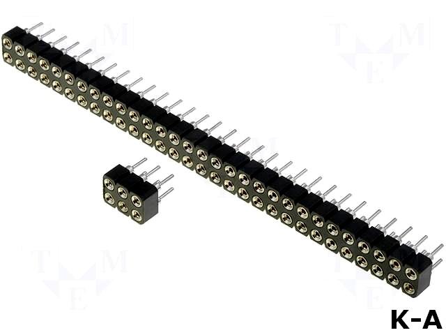 DS1002-01-2X03V13 - Гнездо, штыревое, \'мама\', PIN:6, цанговые контакты, прямой, 2,54 мм