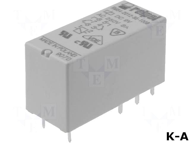 RM84-P-9V - Реле: электромагнитное, DPDT, Uобмотки:9ВDC, 8A/250ВAC, 8A/24ВDC