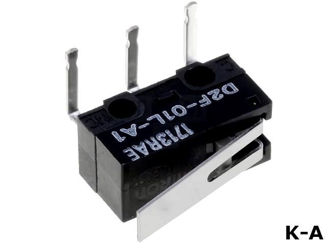 D2F-01L-A1 - Микропереключатель, с рычагом, SPDT, 0,1A/30ВDC, ON-(ON), 1, IP40