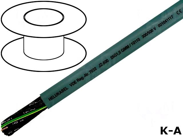 JZ500/3X2.5 - Кабель, JZ-500, многожильный, Cu, 3x2,5 мм2, ПВХ, 300/500В