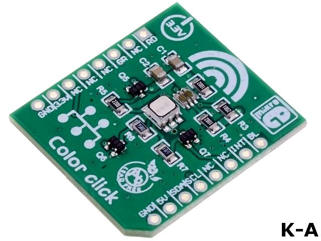 MIKROE-1438 - Дочерняя плата, I2C, mikroBUS, датчик освещения TCS3471