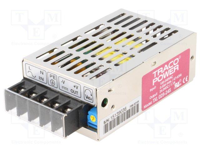 TXL025-24S Блок питания: импульсный, модульный, 25Вт, 24ВDC, 1,1А, 85÷264ВAC