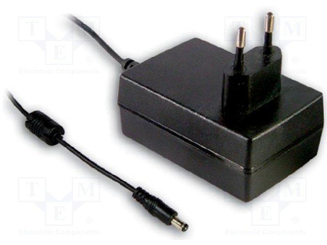 GSC18E-350 Блок питания: импульсный, 26÷52ВDC, 350мА, Вых:5,5/2,1, 18,2Вт